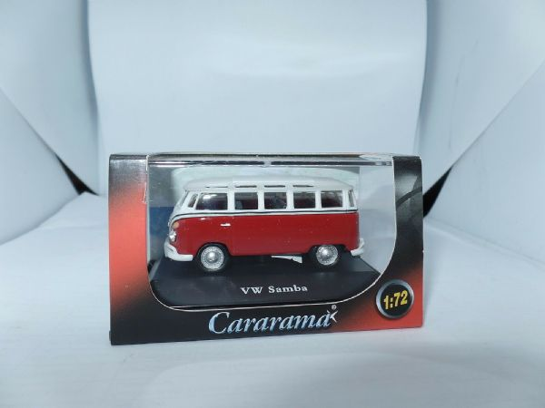 Cararama 1/72 Scale Volkswagon VW Transporter Samba Minibus Dark Red & White